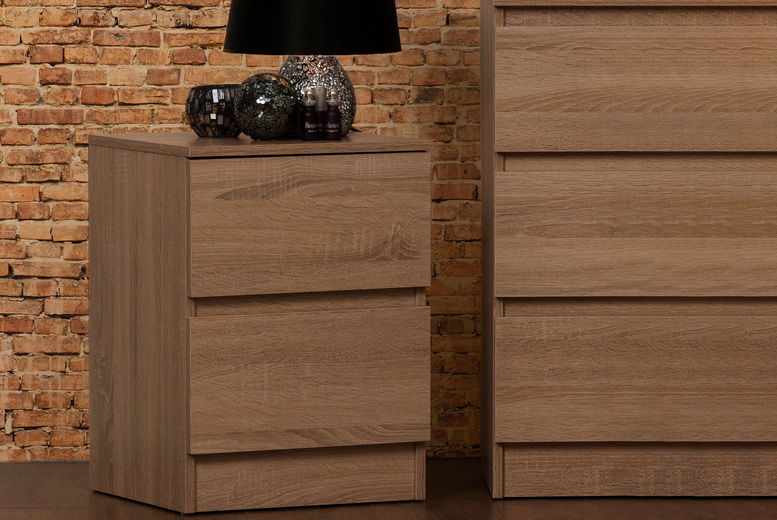 Image of £39 instead of £89.99 for a Narvik two-drawer bedside table in rustic oak from Iqgb – save 57%