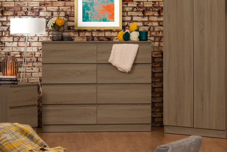 Image of £115 instead of £189.99 for a Narvik eight-drawer bedside table in rustic oak from Iqgb – save 39%