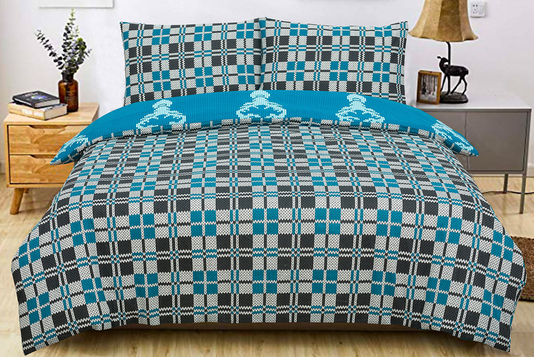 Image of £12 for a single knitted pattern reversible duvet cover set, £14 for a double set or £16 for a king size set from Bubble Bedding!