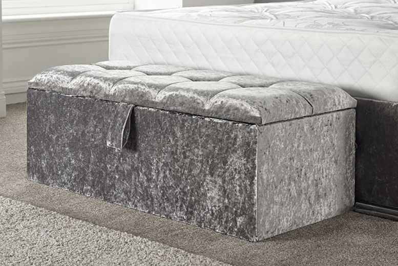 Image of £85 instead of £286.96 for a velvet ottoman storage box in crushed velvet, chenille or plush velvet, with fabric or diamante buttons and a choice of colours from Brookland Designs - save 70%