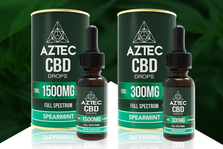 Image of £18.99 for 10ml of Spearmint CBD oil drops 300mg, £26.99 for 500mg, £47.99 for 1000mg or £54.99 for 1500mg from Aztec CBD!