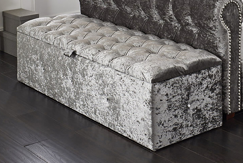 Image of £85 instead of £299.95 for a velvet diamante ottoman storage box in crushed velvet, chenille or plush velvet, with fabric or diamante buttons and a choice of colours from Brookland Designs - save 72%