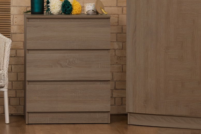 Image of £49 instead of £129.99 for a three-drawer bedside table in rustic oak from iQGB UK - save 62%