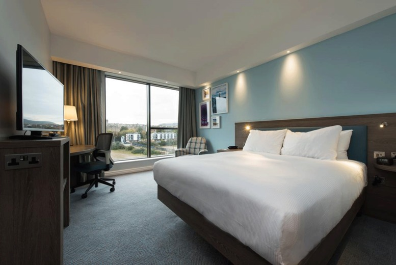 Image of An Edinburgh stay at Hampton by Hilton Edinburgh West End for two people with one bottle of wine on arrival, pizza on each night of your stay and breakfast. £49 for one night, £99 for two nights, or £139 for three nights - save up to 45%