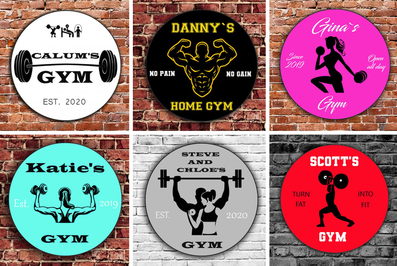 Image of £12 for a small home gym sign or £15 for a large home gym sign from Colour House!
