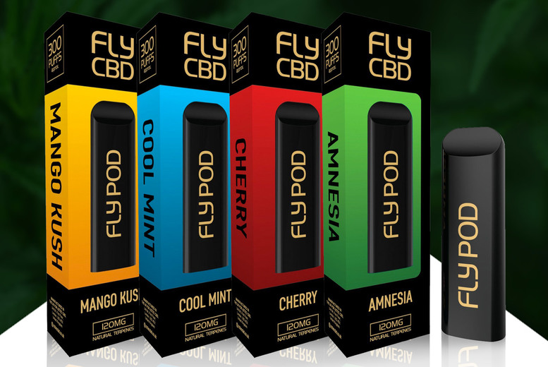 Image of £6.99 instead of £9.99 for a disposable 300 puffs Fly CBD e-pen 120mg in Cherry, Mango, Amnesia or Cool Mint from Aztec CBD – save 30%