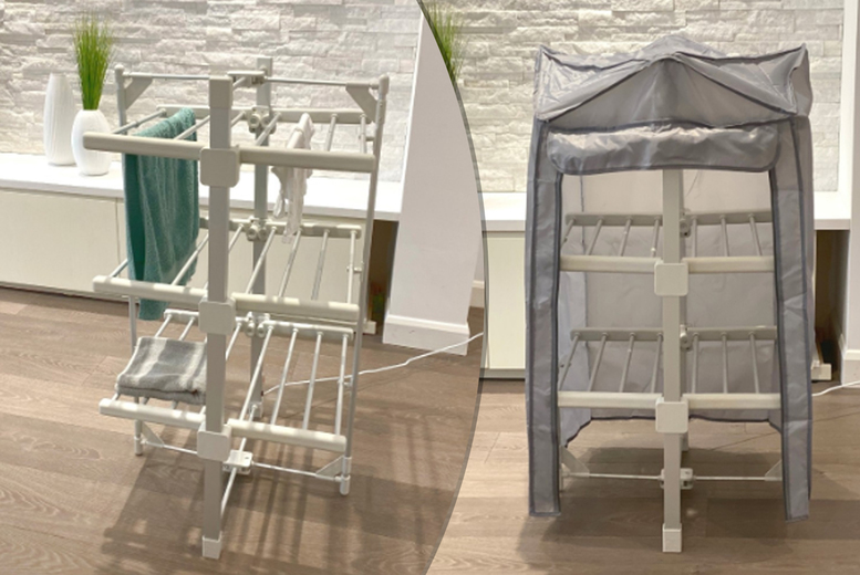 Image of From £59 for a 3-tier heated clothes airer with cover from Direct Xpress Limited - save up to 67%
