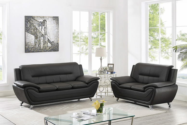 Image of £549 instead of £989 for a curved boat theme three and two-seater sofa set in black or grey from Modernique - save 44%