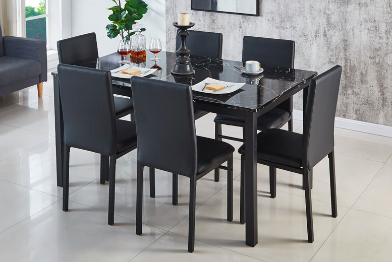 Image of £199 instead of £399 for a marble effect dining table and four chairs, or £265 for a dining table and six chairs from Modernique - save up to 50%