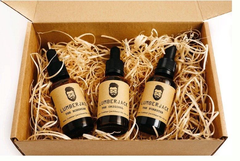 Image of £21 instead of £49.99 for The Beard Oil Trio set from Lumberjack Beards including three scented 30ml beard oils - save 58%