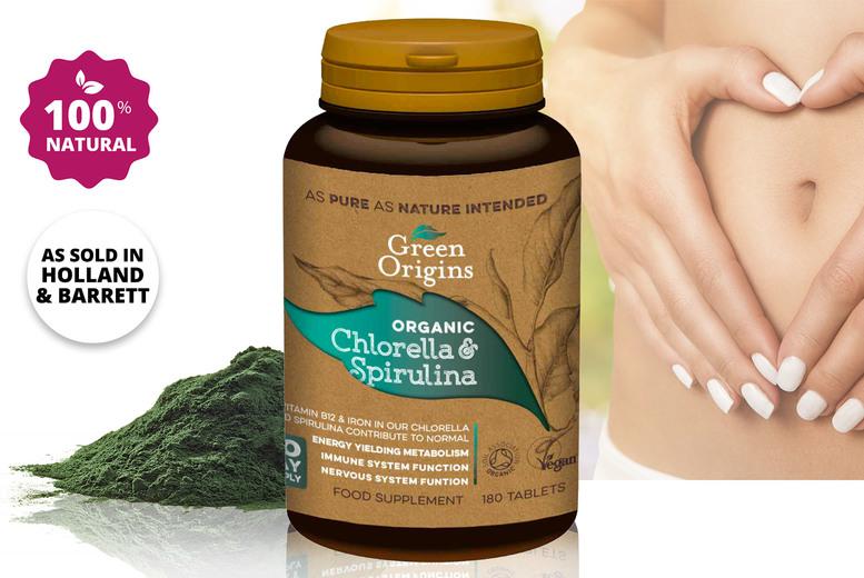 Image of Green Origins Chlorella & Spirulina Tablets 500mg 180 Tablets 1-3 Month Supply - save up to 38%