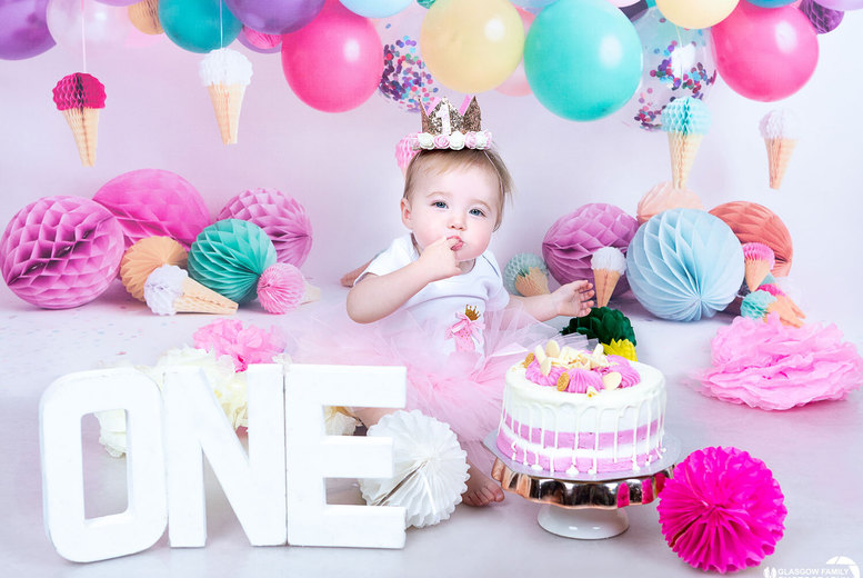 """Image of £9 instead of £84 for a one-hour first birthday Cake Smash photoshoot at Glasgow Family Photography including two 8"""" x 6"""" and three 5"""" x 7"""" prints - save 89%"""