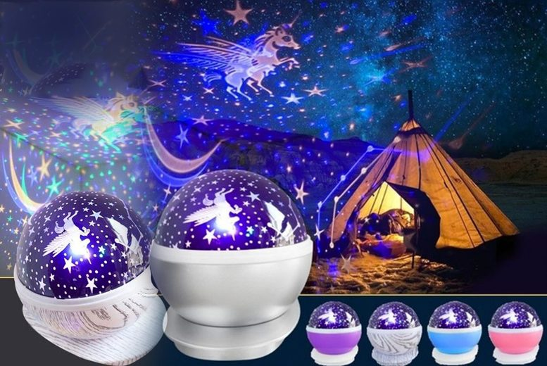 Image of £11.99 instead of £39.99 for a unicorn starry sky projection lamp in blue, pink, purple, silver or wood texture from Pinkpree! - save 60%