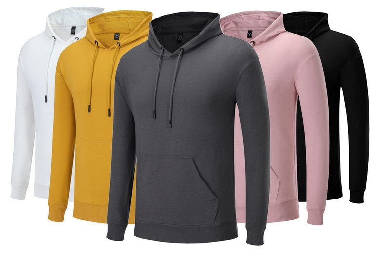 Image of £11.99 instead of £39.99 for a men's zip-up hoodie in white, red, black, purple, yellow, green, pink, grey or blue and sizes XL-4XL from Huundo-P - save 70%