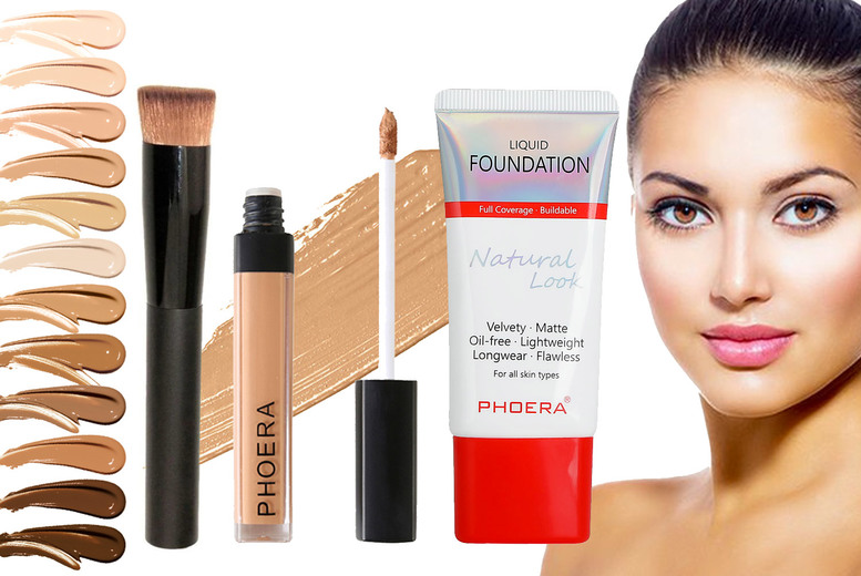 Image of £10.99 instead of £34.97 for a Phoera foundation, concealer and foundation brush from Forever Cosmetics - save 69%