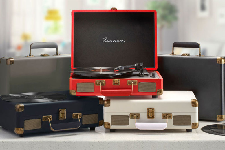 Image of £32.99 instead of £99.99 for a Zennox briefcase record player in Black, Cream or Grey, £36.99 to include a spare stylus from CJ Offers - save up to 67%