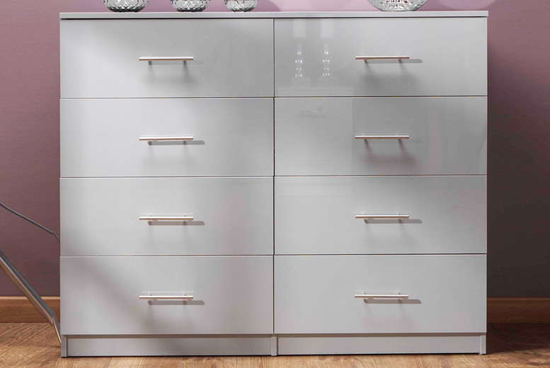 Image of £135 instead of £249.95 for an eight-drawer high-gloss grey chest from iQGB UK - save 46%