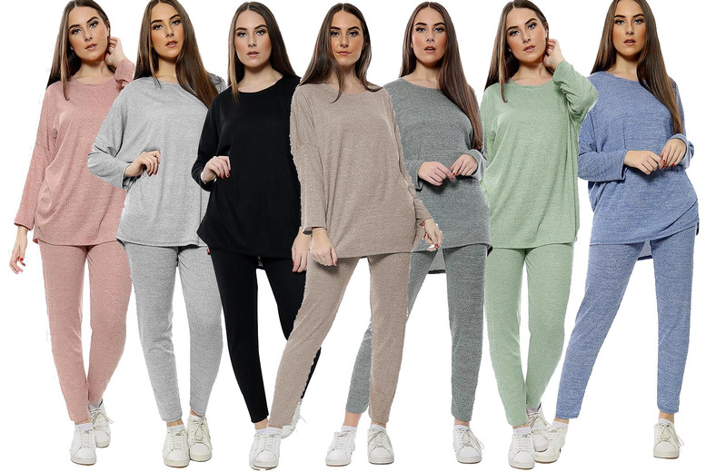 Image of £14.99 for a women's two-piece tracksuit in mocha, dark grey, black, khaki, light grey, dusky pink or denim blue from Love My Fashions
