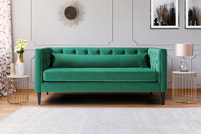 Image of £399 for a Savoy two-seater plush sofa in Grey, Jasper Green or Peacock Blue from Furnex