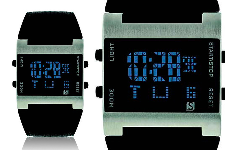 Image of £12 instead of £29.99 for a men's digital black strap watch from Personal Choice - save 60%