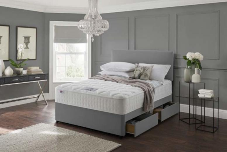 Image of From £49.99 instead of £399 for a grey fabric divan bed set with a headboard and memory mattress from Dining Tables - save up to 87%