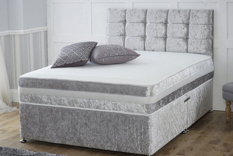 Image of From £49.99 instead of £320 for a crushed velvet divan bed and memory foam mattress in black, champagne gold, gunmetal grey or silver and memory mattress - choose from two or four drawers and save up to 84%