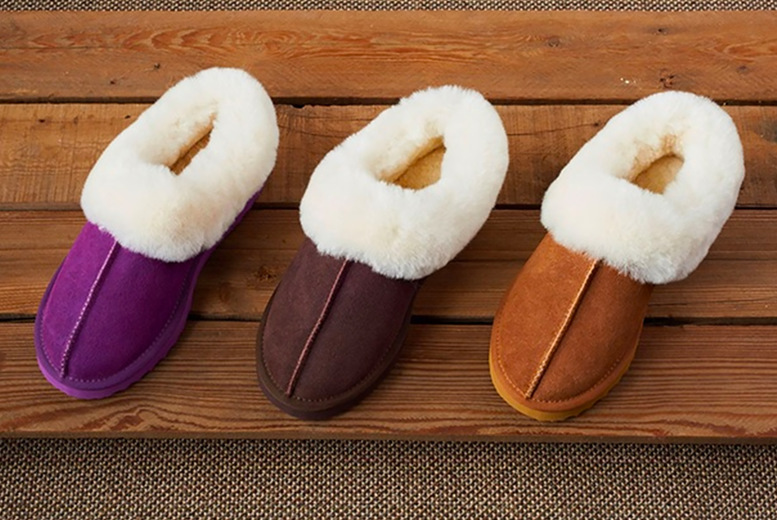 Image of £24.99 for a pair of women's sheepskin slippers in Pink, Chestnut or Coffee in UK sizes 3-8 from Evaniy!