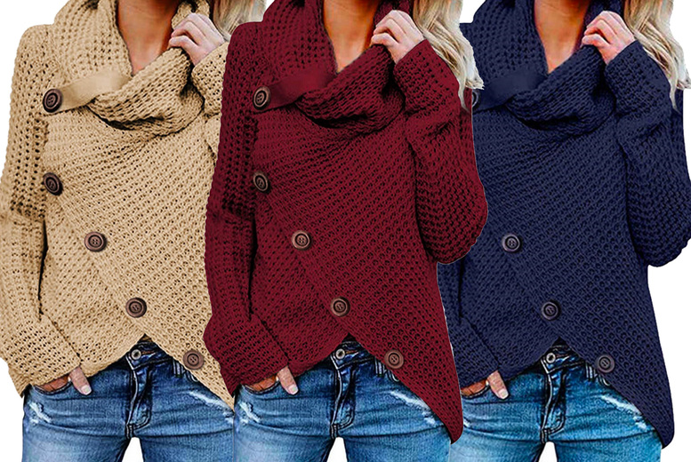 Image of £11.99 for a women's diagonal button jumper in wine red, beige, black, white, dark green or navy blue and in UK sizes 10-16 from Huundo-P!