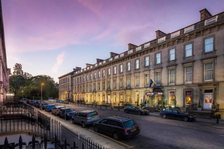 Image of A central Edinburgh stay at 4* Edinburgh Grosvenor Hotel for two people with breakfast, one bottle of wine to share and a £25 food and drinks voucher for first night. £69 for one night, or £99 for two nights - save up to 43%