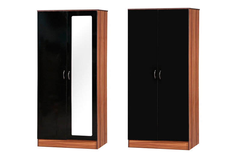Image of £89 for a high gloss two-door wardrobe or £99 for a high gloss two-door wardrobe with a mirror