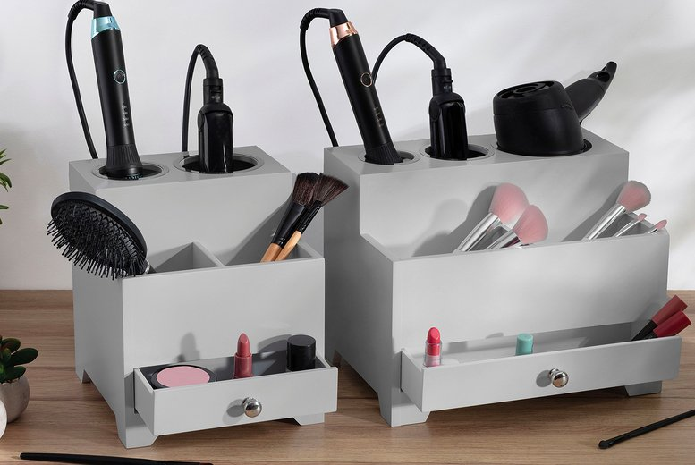 Image of £14.99 instead of £34.99 for a medium wooden hair style station in white or pale grey or £16.99 for a large from CJ OFFERS – save up to 57%