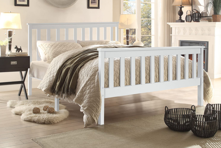 Image of From £39 instead of £99 for a grey or white finish bed frame or from £99 for a bed frame and sprung or bonnell sprung mattress in single, small double, double or king from Buyer Empire! - save 60%