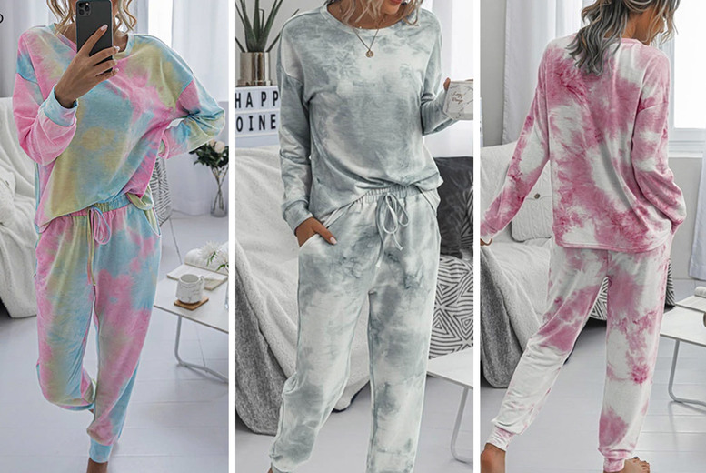 Image of £12.99 instead of £29 for a women's two-piece tie dye lounge set from CN Direct Biz - save 55%