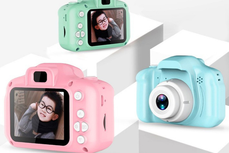 Image of £12 instead of £29.99 for a kids cartoon digital camera or £14.99 for a digital camera with SD card in blue, green from Flashing Pineapple - save up to 60%