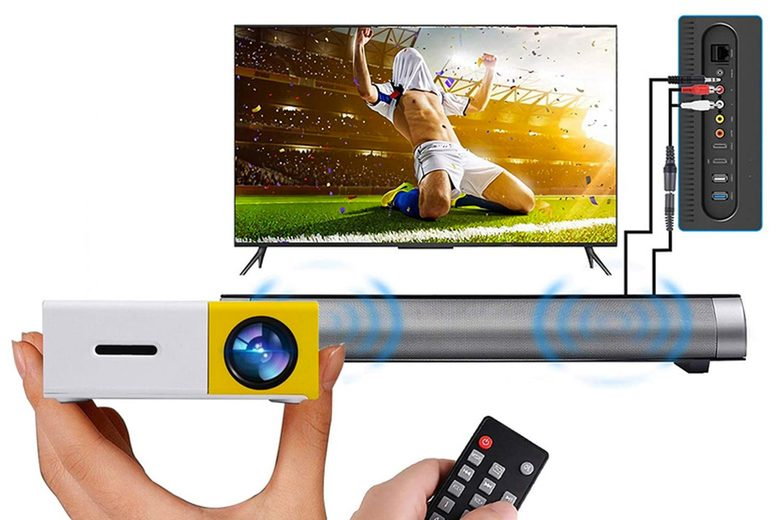 Image of £36 instead of £119.99 for a projector in yellow, blue or back, £49 for a projector and screen or £82 for a projector, screen and soundbar from My Brand Logic - save up to 60%
