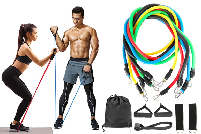 Image of £10.99 for a 11-piece resistance band home gym kit!