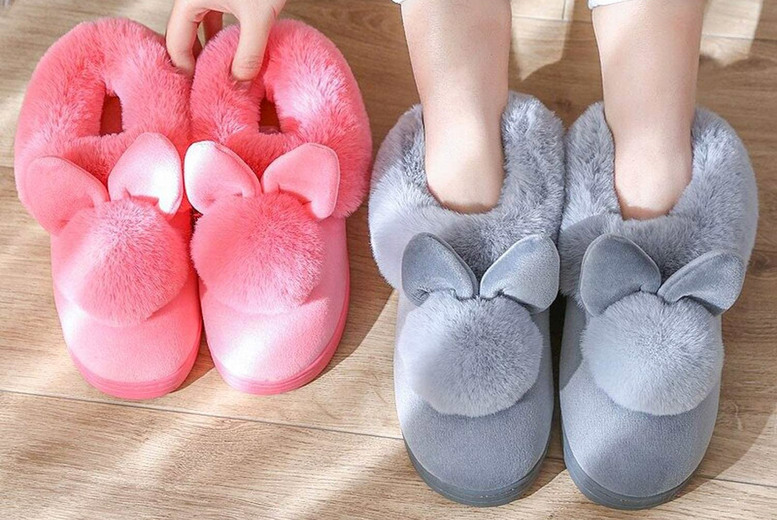 Image of £12.99 instead of £39.99 for a pair of fluffy rabbit slippers in UK sizes 3-8 from Flashing Pineapple - save 68%