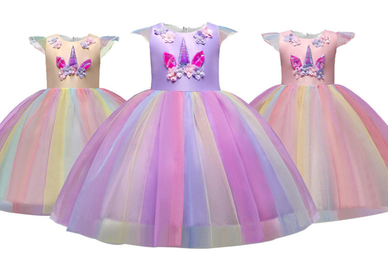 Image of £12.99 instead of £49.99 for a kids' unicorn princess dress from Wish Imports - save 74%