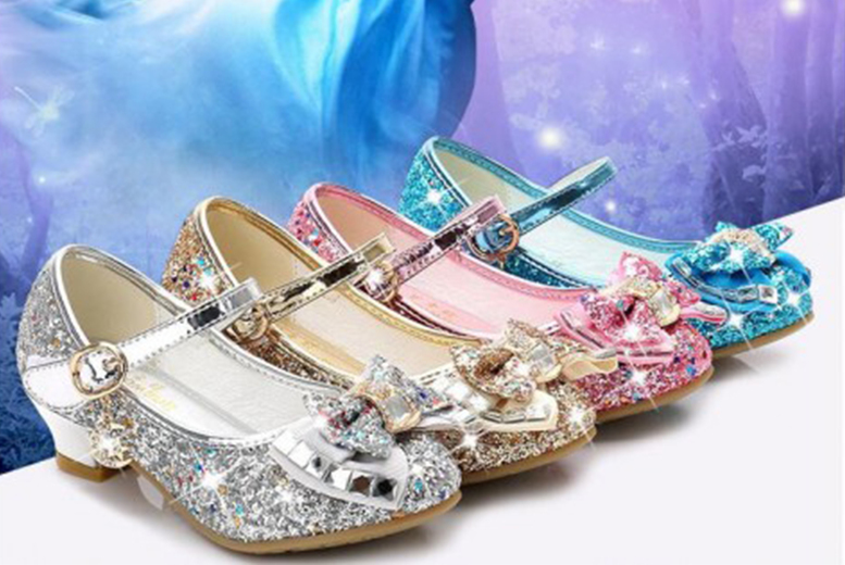 Image of £13.99 instead of £49.99 for a pair of children's glittery princess high-heel crystal bow shoes in Pink, Blue, Gold or Silver in children's size 10.5 to adult size 3 from Wish Imports – save 72%