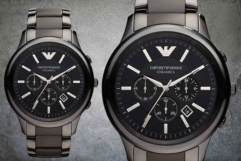 Image of £119 instead of £449 for a men's Armani luxury AR1451 ceramic watch from CJ Watches - save 76%