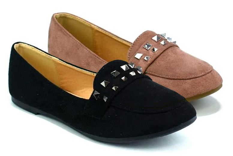 Image of £11.99 for a pair of women's flat studded shoes in black, navy or pink and UK sizes 3-8 from Shoe Fest!