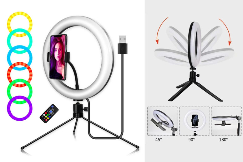 Image of £14.99 instead of £69.99 for a 10″ selfie colour changing ring light from Magic Trend - save 79%
