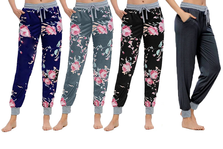 Image of £11.99 instead of £29.99 for a pair of women's floral lounge trousers from Boni Caro! - save 60%
