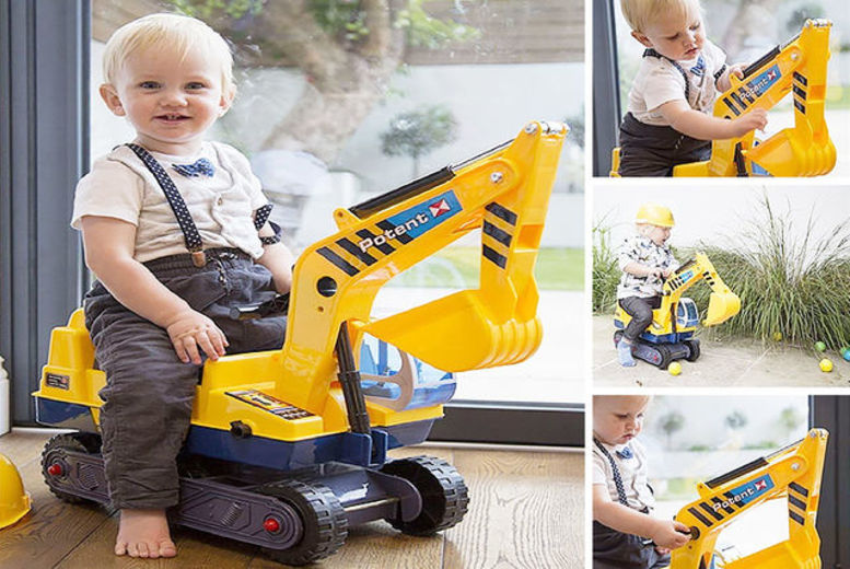 Image of £21.99 instead of £44 for a children's ride on digger set with hard hat from AllKindaThings! - Save 50%
