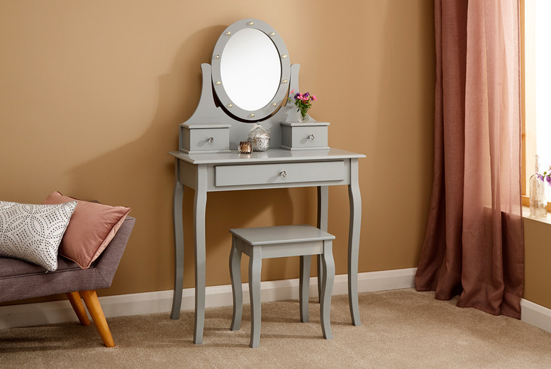 Image of £109 instead of £194.95 for a Grace antique-style wooden dressing table with LED mirror and stool in Grey or White – save 44%
