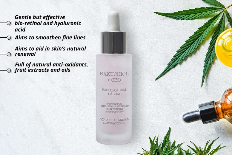 Image of £14 instead of £79 for a 30ml Bakuchiol + CBD serum or £25 for two from Eclat Cosmetics - save up to 82%