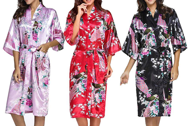 Image of £14 instead of £29.99 for a women's floral satin kimono UK 10-22 from Bonicaro - save 53%