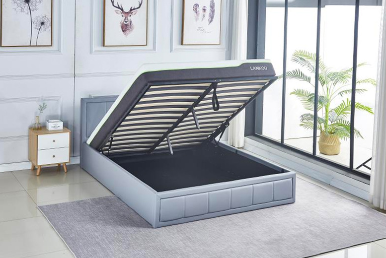 Image of From £139 instead of £399.99 for a grey PU leather ottoman bed or from £265 for a grey PU leather ottoman bed and a memory sprung mattress from Buyer Empire - save up to 65%