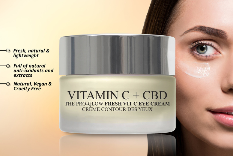 Image of £12.99 instead of £59 for one pot of 20ml Pro-Glow Fresh vitamin C and CBD eye cream, £23.99 for two pots from London Botanical Laboratories – save up to 78%