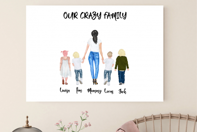 Image of From £7.95 for a personalised mother and child watercolour canvas from Colour House - choose from three sizes